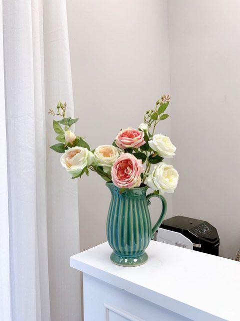 Lọ hoa Bát Tràng men hỏa biến xanh lơ dáng bình sữa
