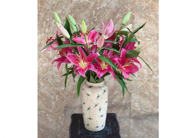 Lọ hoa Bát Tràng men rạn truyền thống vẽ chuồn chuồn dáng ống