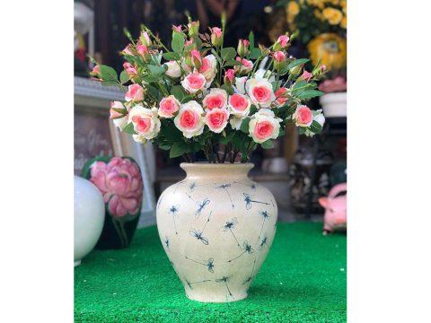 Lọ hoa Bát Tràng men rạn vẽ chuồn chuồn chàm số 2