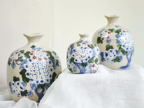Set 3 lọ hoa Bát Tràng decor men rạn vẽ Cẩm Tú Cầu
