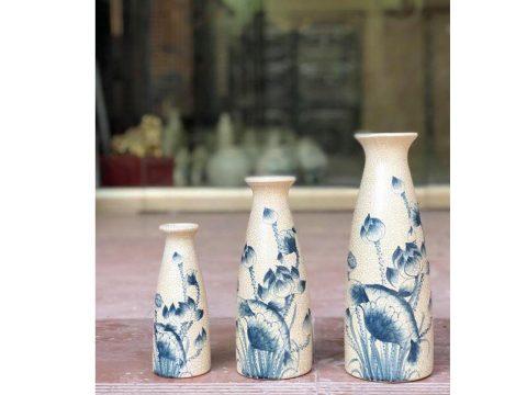 Set 3 lọ hoa Bát Tràng decor men rạn vẽ sen dáng sake