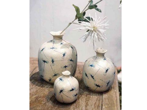 Set 3 lọ hoa Bát Tràng decor miệng tam giác men rạn vẽ chuồn chuồn chàm