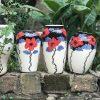 Set bộ 3 lọ hoa Bát Tràng 5 cánh đỏ