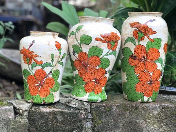 Set bộ 3 lọ hoa decor vẽ dâm bụt cam