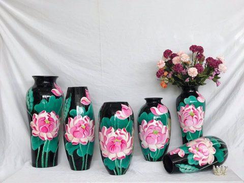 Set lọ hoa sơn mài trang trí decor vẽ hoa sen hồng 3D nền đen